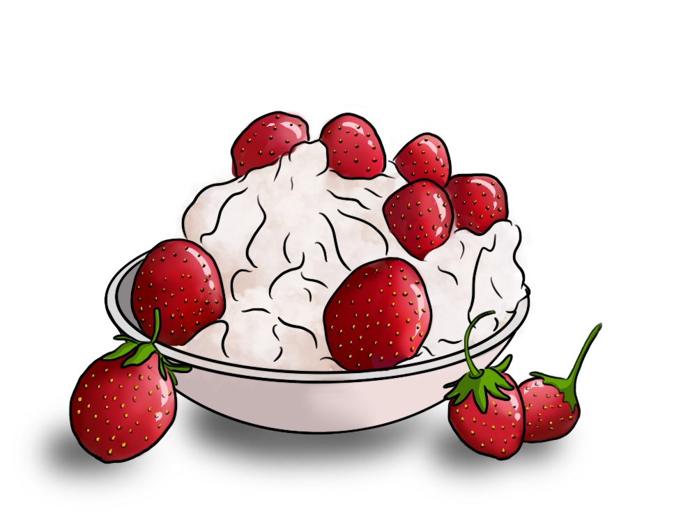 Plato de fresas con nata