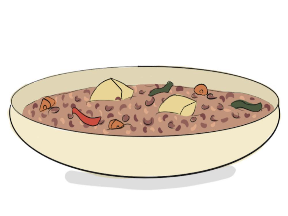 Plato de lentejas estofadas con verduras