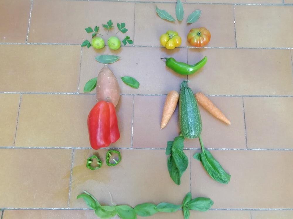 Land art con hortalizas